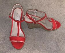 Charles by Charles David Womens Lucas Canvas Open Toe, Red Size 8.5M NEW