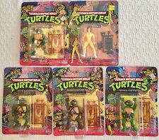 VTG Set 5 TMNT Teenage Mutant Ninja Turtles Action Figures NOS 1988 Playmates