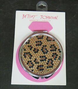 Betsy Johnson Beaded Leopard Round Mirror Compact  NEW
