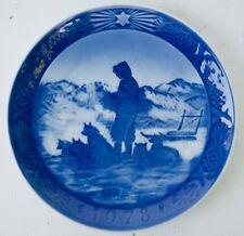 Royal Copenhagen Demark Greenland Scenery Christmas Plate 1978 Sled Dogs Blue KL