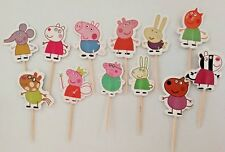 24 Pcs Peppa Pig CUPCAKE CAKE TOPPERS Party Supplies Lolly Loot Bags Decoration