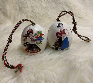 Vintage Hand Painted Folk Hungary Porcelain Egg Two-Sided Lot Of 2 Ornaments