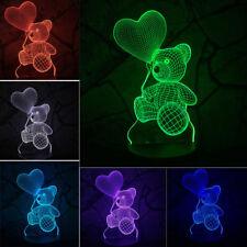Baby Kids Night 3D LED Lighting Sensor Bear Heart Balloon LED Atmosphere Lamp