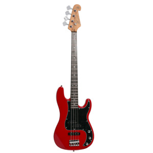 SX VEP62FR P&J Vintage Style 4 String Bass Guitar with Bag in Fiesta Red