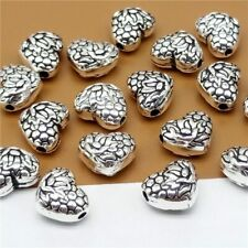 5 Sterling Silver Love Heart Beads w/ Lotus 925 Silver Spacer for Bracelet