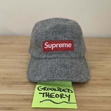 Supreme 5 Panel Box Logo Harris Tweed Wool Gray Red White Made in USA 2011-2012
