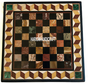 Marble Chess Dining Table Multi Mosaic Stone Inlaid Collectible Arts Decor H3933
