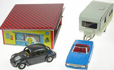 VW BEETLE MERCEDES CARAVAN AND GARAGE KOVAP SET CE EUROPEAN COLLECTIBLE TIN TOYS