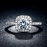 Wedding women Ring Silver luxury Engagement square CZ Rings Size 7/8/9