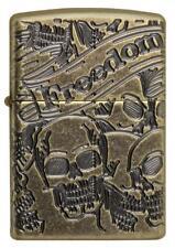 Zippo Freedom Skull 360 Degree Antique Copper Armor Lighter, Collectible  New