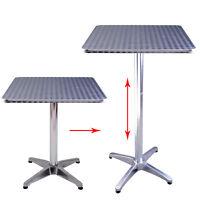 "24""L Adjustable Height Pub Bar Table Home Silver Aluminum Indoor Outdoor Patio"