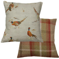 Pheasant Gamebird Rust Checked Wool Effect Filled Country Animal Cushion