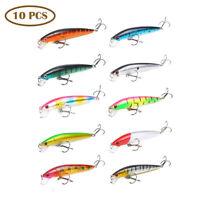 10pcs Fishing Lures Crankbaits 2 Hook Minnow Baits Tackle Crank Fishing Kit 10cm