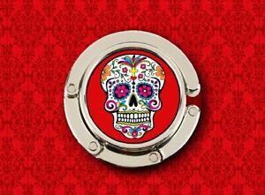 SUGAR SKULL DAY OF THE DEAD RED MEXICAN HANDBAG POCKETBOOK HANGER PURSE HOOK