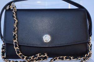 New Tory Burch Crossbody Black Bag Parker Chain Wallet Shoulder Handbag