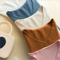 2019 Spring/Autumn Women's Simple V-neck Cashmere Sweater Short Knitted Pullover