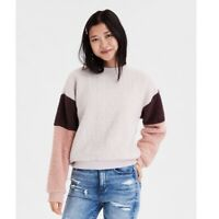 American Eagle Womens Cream Brown Fuzzy Sherpa Long Sleeve Crew Neck Sweater S
