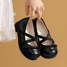 Women's 2021 Fashion Leather Round Toe Falbala Loliat Mary Jane Court Shoes SKGB