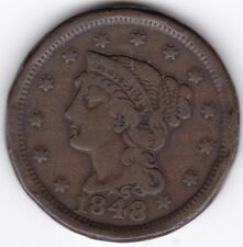 1848 U.S.A. Braided Hair One Cent   Pennies2Pounds