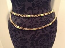 """ST JOHN COLLECTION..DESIGNER JEWELRY..36""""..BELT/NECKLACE..GOLD TONE/MINT GREEN"""