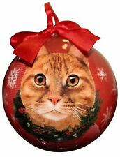ORANGE TABBY CAT CHRISTMAS BALL ORNAMENT HOLIDAY XMAS PET LOVERS GIFT