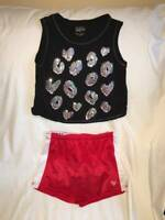 *NEW* JUSTICE GIRLS SIZE 8 10 12 CLUB JUSTICE TANK TOP N POPCORN SHORTS SET