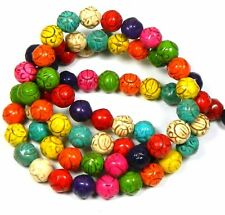 """10mm Carved Round Rondelle Beads Chalk Turquoise Dyed/Stabilized Mix  Beads 15"""""""