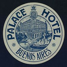 """Palace Hotel BUENOS AIRES Argentina * Old Luggage Label Kofferaufkleber """"L"""""""