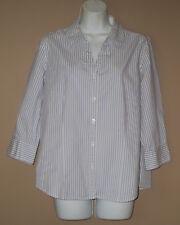 Womens Medium 3/4 Long Sleeve Fall Fashion Blue Stripe Wrinkle Free Top Shirt