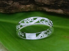 Wellen 925 Silber Ring Schmal Durchbrochen Poliert Ranken Fantasy Damenring