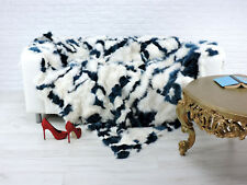 Véritable Luxe Renard Couverture Blanc Bleu 220cm x 200cm, i085