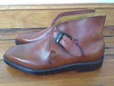 Vtg French Shriner V-Cleat Monk Pebble Grain Leather Buckle Mens Boots 7.5 40.5