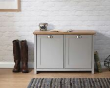 Grey Oak Shoe Storage Cabinet 2 Door Cupboard Hallway Unit Lancaster Seconds