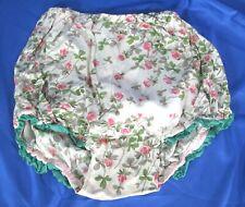Vintage FLORAL PRINT COTTON PANTIES Bloomers GREEN RUFFLE TRIM Pink Roses CUTE!