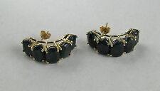 10k YG 10 Carat Midnight Blue Sapphire Huggie Cluster Earrings--Free Shipping!