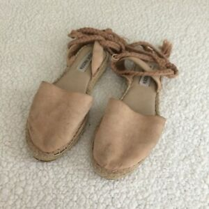 Steve Madden Mesa Nude Suede Lace Up Espadrille Flats Size 7.5