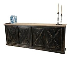 "87"" W Sideboard Solid Pine Wood Distressed Black Sliding Doors Natural Pine Top"
