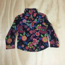 NWT Oilily Girls 2T Multi-colored Floral Cotton Corduroy Button Lined Shirt