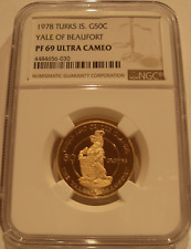 Turks & Caicos Islands 1978 Gold 50 Crowns NGC PF-69UC Yale of Beaufort