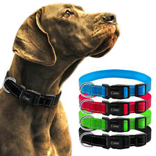 Nylon Dog Collar Reflective for Small Large Dogs Plastic Buckle Adjustable S M L