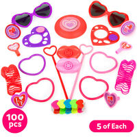 100 BULK Valentines Party Supplies FAVORS TOYS Classroom Goodie Bags Filler