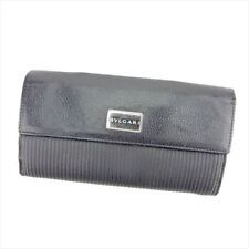 Bvlgari Wallet Purse Long Wallet Black Silver Woman unisex Authentic Used T5567