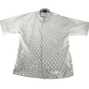 Montique Mens Regular Fit Short Sleeve Mandarin Collared Button Front Shirt 3XL