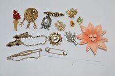 Vtg Pin Brooch lot*Metal 50's Flower Power*Coro Rhinestone*Rhinestone Bee* etc