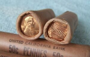 1970-S **Original Bank Wrapped ** Uncirculated Lincoln Cent Roll -OBW Pennys (H)