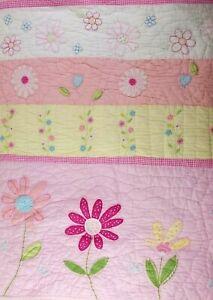 Pottery Barn Kids Daisy Garden Pink Floral Applique Quilt