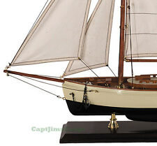 "Decorative 1930s Classic Yacht Small Wooden Model Sailboat 22"" Nautical Decor"
