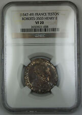 1547-49 France Teston Silver Coin Roberts-3503 Henry II NGC VF-20 AKR