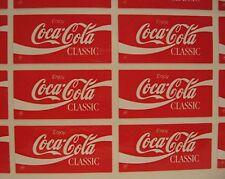 20 Coca Cola Classic Stickers Coca Cola USA Adv Sheet