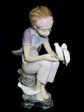 Lladro #8536 Playing Wth Doves Brand Nib Girl Sitting Bird Save$ Free Shipping